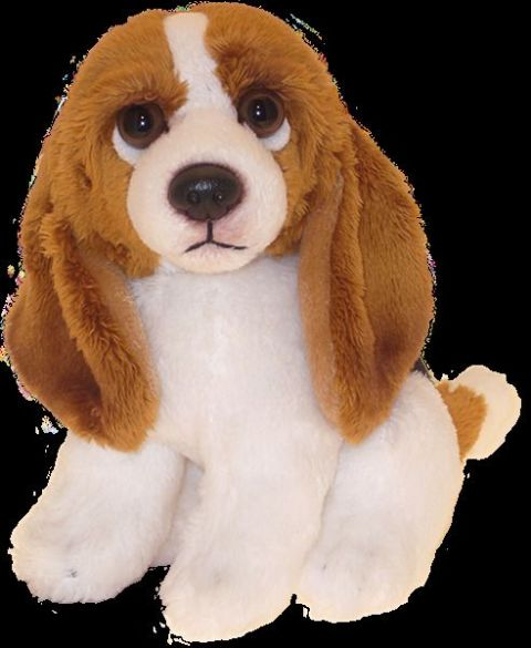 "Basset Hound puppy dog sitting Cuddly 6.5"" pocket toy"